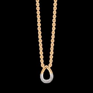Støvring Design 14kt Guld og Hvidguld Vedhæng med Brillanter i Forgyldt Kæde 76205045