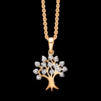 Støvring Design Guld og Hvidgulds Vedhæng med Brillanter i Forgyldt Kæde 76205944