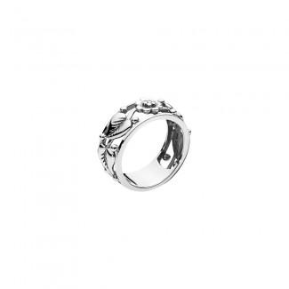 Lund Copenhagen Sølv Ring med Blomster og Blade 9071018-OX