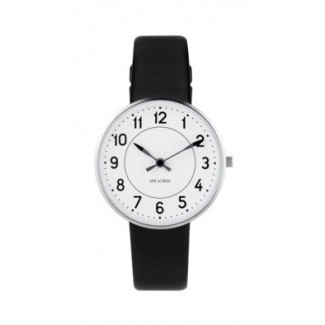 Arne Jacobsen Station 34mm 53401-1601 sort læder rem