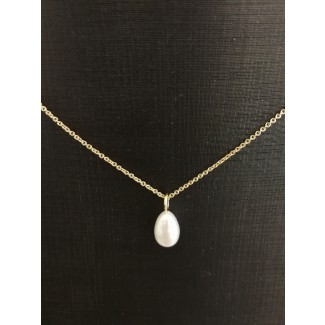 14kt Guld vedhæng med Ferskvands Perle, 14kt Kæde i 46cm