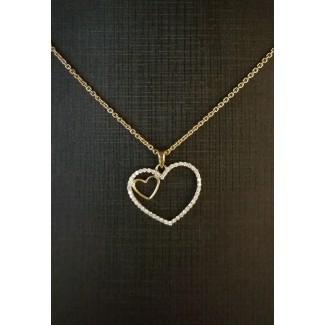 14kt Guld Hjerte Vedhæng med i alt 0,18ct Diamanter, 50cm 14kt Guld Kæde